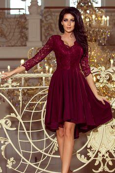 Elegant Dark Green Sleeves With Longer Back Lace Midi Dress Lace Midi Dress, Flare Dress, Skater Dress, Color Bordo, Party Mode, Maroon Dress, Bodycon, Dress Silhouette, Lace Bodice