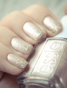 OMBRÉ GLITTER TIPS Champagne and gold glitter look festive without overdoing it. First, paint a solid metallic coat. Let dry. Then add layers of diminishing glitter from the tip back. Get the look: Essie polish ($9); Butter London topcoat ($15)