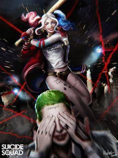 Harley and Joker Fanart Joker Y Harley Quinn, Harley Queen, Suicide Squad, Art Kawaii, Hq Dc, Daddys Lil Monster, Cinema Tv, Fanart, Joker Art