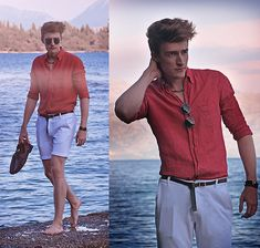 Ray Ban Sunglasses, Made In Greece Necklace And Bracelets, Massimo Dutti Linen Shirt, H&M Leather Belt, Zara Piqué Shorts, Zara Braided Moccassins