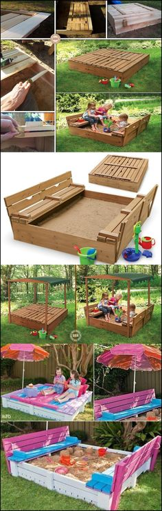 Is there a child anywhere who doesn't love playing in sand? Here's a great DIY sandbox that keeps the sand in and the cats out. playground outdoor play areas Wonderful DIY Sandbox with cover Backyard Projects, Outdoor Projects, Diy Projects, Backyard Kids, Backyard House, Backyard Games, Outdoor Play, Outdoor Decor, Outdoor Toys