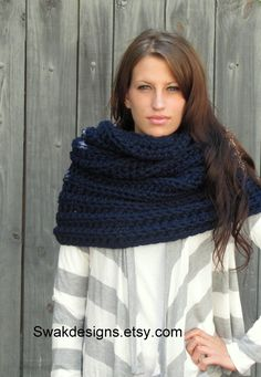 Citron Hooded Cowl Oversized Snood Scarf Chunky by SWAKCouture