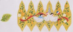 Kate Dickerson Needlepoint 12 Pears of Christmas - 3 French Hens
