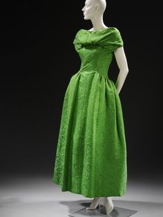 Evening Dress, Hubert de Givenchy, 1955.   I love the color and pattern, and it had matching shoes!