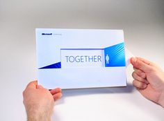 A direct mail piece for Microsoft Licensing based on the connection you have with your Microsoft Rep. As the piece is opened it visually brings your representative and their contact info closer to you while revealing the messaging.