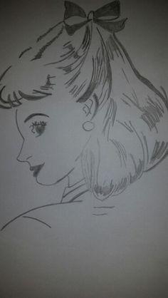 Fifties cute retro girl drawn by me