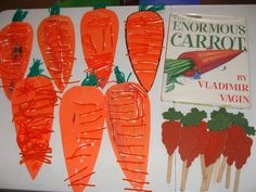 Gluing orange yarn onto large carrots--cute craft for toddlers and preschoolers