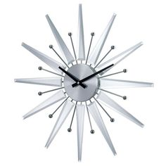 """Silver Mirrored Starburst Clock 1220MIRROR by Stilnovo - Silver Mirrored Starburst Clock 1220MIRROR by StilnovoThis Mirrored Starburst wall clock has a burst of twelve rays of triangular silvered pieces plus alternating metal """"protons."""" The clock face is silver and is swept by black hands powered by a high quality Quartz movement requiring only one AA battery (not included).SKU: 1220MIRRORManufacturer: StilnovoCategory: Clocks George Nelson By VerichronUPC: 733632066792Country of Origin…"""