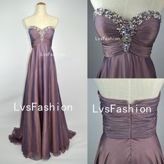 A Line Strapless Sweetheart With Crystal Long Gray Purple Chiffon Prom Dresses, Evening Gown, Evening Dresses, Party Dresses. $179.00, via Etsy.