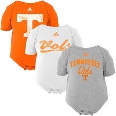 adidas Tennessee Volunteers Infant 3-Pack Creeper Set - Tennessee Orange/White/Gray $29.95