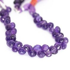 Purple Amethyst Faceted Onion Drop Loose Gemstone Beads Strand 7mm 10mm - 8 Inch