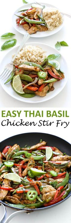 Thai Basil Chicken Stir Fry loaded with tons of fresh vegetables. A quick and easy one skillet weeknight meal that takes less than 30 minutes to make! | chefsavvy.com #recipe #thai #basil #chicken #stir #fry #dinner #takeout