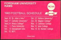 1983 FORDHAM RAMS CHEVROLET FOOTBALL POCKET SCHEDULE FREE SHIPPING #PocketSchedules