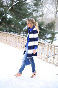 Stripes and cobalt blue via Happily Grey