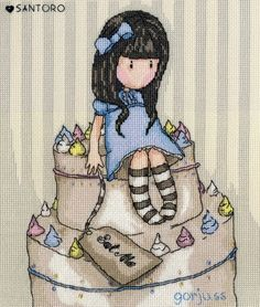 Gorjuss Sweet Cake Cross Stitch Kit £25.00 | Past Impressions | Bothy Threads