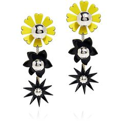 Kenzo - Daisy Flowers Mirrored Beads Earrings (8.840 RUB) ❤ liked on Polyvore featuring jewelry, earrings, daisy jewellery, flower jewelry, earring jewelry, beading earrings and yellow dangle earrings
