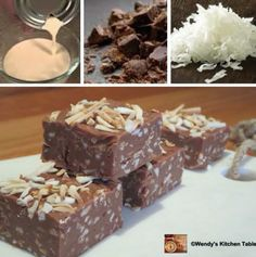 You will love this Coconut Rough Fudge Recipe and it has 3 simple ingredients and is no bake and easy to make. This is a taste sensation! Bake Sale Recipes, Fudge Recipes, Candy Recipes, Sweet Recipes, Dessert Recipes, Dessert Ideas, Brunch Recipes, Yummy Recipes, Coconut Rough Recipe