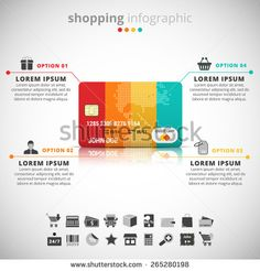 Vector illustration of shopping infographic made of credit card.