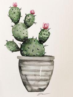 Cactus in gray pot original watercolor painting Cactus Drawing, Cactus Painting, Cactus Art, Watercolor Plants, Watercolor Drawing, Watercolor Paintings, Cactus Illustration, Watercolor Illustration, Image Cactus