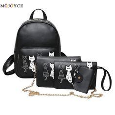 4Pcs/Set Small Women Backpacks female 2017 School Bags For Teenage Girls Black PU Leather Women Backpack Shoulder Bag Purse