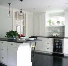SallyL: Molly Frey Design - Beautiful kitchen/bar area with simple white Shaker style cabinetry ...