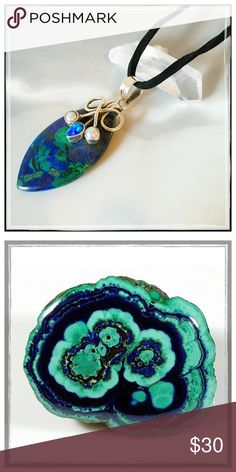 ✨SS Azurite-Malachite Healing Crystal Necklace✨ ✨Solid Sterling Silver Accented With Opal And Pearls✨Azurite is often found in nature mixed with Malachite, another copper carbonate mineral, this one with a bright green color✨Together, they resemble Mother Earth and carry not only their individual properties, but a powerful blend of healing energies✨Azurite-Malachite's energies is conducive to meditation by allowing one to go deep within the self, without fear, in order to be sustained…