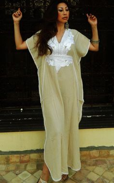Resort Caftan Marrakech Style Light Beige with by MaisonMarrakech, $41.99