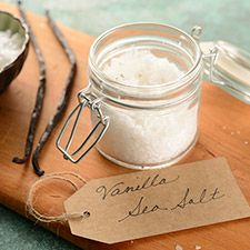 Make your own vanilla sea salt. The perfect complement to favorite sweets.