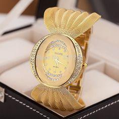 Aliexpress.com: Comprar 2015 nueva moda de lujo para mujer de la marca famosa oro relojes de pulsera de cuarzo rhinestone mujeres relojes relojes de mujer montre femme de perfumes de marca fiable proveedores en Keep time co.,LTC(MIn Order $ 3 Free Shipping)