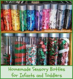 Sensory Bottles are a cheap, easy gift for infants and toddlers. I purchased Voss waters because they look so cool! They are a bit pricey but since I can reuse the bottles I'm ok with …