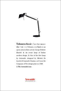 The great #Tolomeo, #design Michele De Lucchi & Giancarlo Fassina. #ArtemideDictionary.