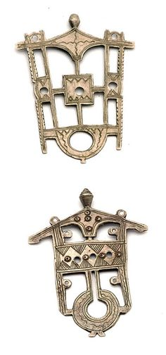 Africa | Two amulet pendants from the Kel Ataram Tuareg of Niger.  Silver | 20th century