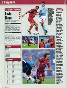 Lazio 2 AS Roma 2 in Oct 2002 at the Olimpico Stadio. The Rome Derby ends in a draw in Serie A.
