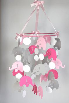 Pink Elephant Baby Mobile // Pink Gray Baby Crib Mobile // Girl Nursery Mobile CHOOSE COLORS