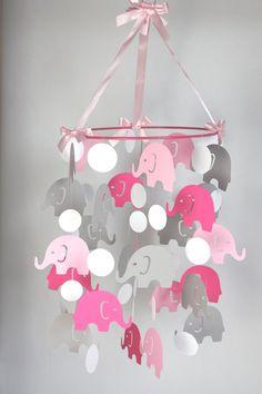 Pink Elephant Baby Mobile // Pink Gray Baby Crib Mobile // Girl Nursery Mobile CHOOSE COLORS