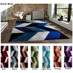 Modern Contemporary Shag Shaggy Dark Blue Light Blue Red Black Brown Green Orange Area Rug Carpet Rug