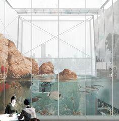piero lissoni's NYC aquarium winning proposal offers multiple ways to experience water
