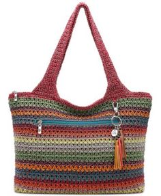 The Sak Casual Classics Large Tote. A variety of fun charms and exciting colors make up the options for this large tote from The Sak. Select your favorite to match your personality, and carry all your essentials the way they were meant to be carried. Crochet Shell Stitch, Crochet Tote, Crochet Purses, Bead Crochet, The Sak Handbags, Shoulder Handbags, Shoulder Bags, Crochet Handles, Large Tote