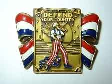Vtg Patriotic Defend Your Country Uncle Sam WWII Sweetheart Pin Brooch CORO WW2