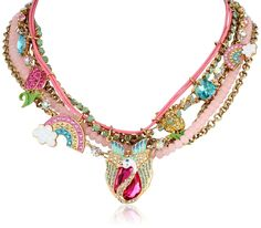 "Amazon: Betsey Johnson ""Fairyland"" Swan and Rainbow Multi-Row Necklace, 20"": Jewelry"