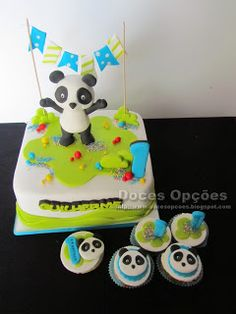 Doces Opções: O Panda no 1º aniversário do Guilherme Bolo Sofia, Birthday Cake, Desserts, Animals, Food, Design, Panda Cakes, Birthday Cakes, 1 Year
