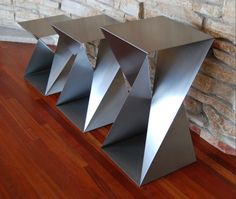Twist Base Trio 21 Stainless Steel Twist Bases & Table Tops for Unconventional Interiors