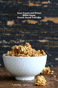 Sour Cream & Onion Hemp Millet Crunch Snack/Granola and Hemp Giveaway. Gluten-free Vegan Recipe June 2014 By Richa 36 Comments Savory Snacks, Vegan Snacks, Healthy Snacks, Vegan Recipes, Snack Recipes, Vegan Food, Granola, Flax Seed Recipes, Sour Cream And Onion