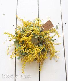 *ミモザリース* Bunch Of Flowers, Cut Flowers, White Flowers, Dried And Pressed Flowers, Dried Flowers, Ikebana Flower Arrangement, Flower Arrangements, Mimosas, Wreaths And Garlands
