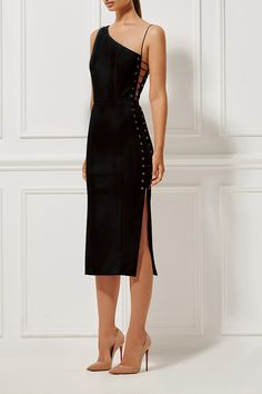 MISHA   Monique Dress Ebony   Fitted midi dress with gold eyelet detail along the sides, which opens up to a laced design. Features an  off-shoulder and elasticated shoe-string strap and tigh high side split   Sauce eShop