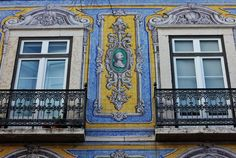 Walking by Lisbon's Amazing Buildings | Via Epoch Times |  Azulejo is a form of painted, tin-glazed ceramic tile work. It has become a typical aspect of Portuguese culture, having been produced without interruption for five centuries. They are not only used an ornamental art form, but also function as temperature control for homes.  #Portugal