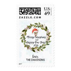 funny cat santa winter wreath christmas greetings postage