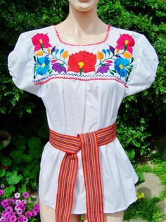 Mexican Embroidered Blouse white Cotton size by GreenMarketVintage