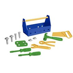 Green Toys Tool Set Blue * Learn more by visiting the image link. Toddler Toys, Baby Toys, Preschool Garden, Fine Motor Skills Development, Green Toys, Thing 1, Construction Tools, Pretend Play, Early Learning