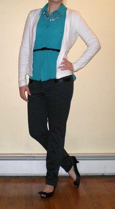 Bashful Fashionista | spring layers for work - sleeveless blouse, white cardigan, skinny pants, kitten heels
